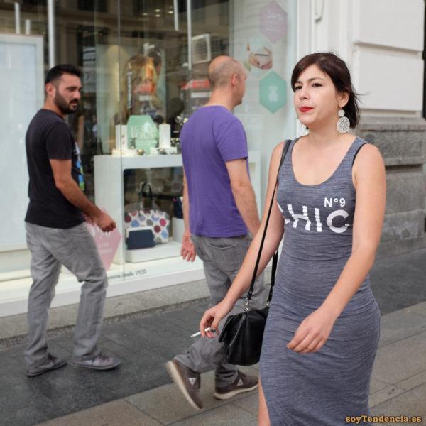 vestido largo gris chic numero 9 soytendencia madrid street style